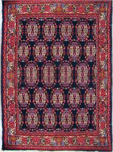 Kurdish Bidjar rug with red border and medallions on a blue background