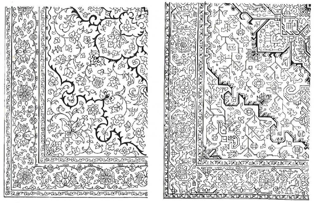 Formal Floral Curvelinear Oriental design vs Informal Floral Rectilinear design