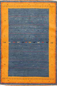 Blue and Yellow Kashkuli Gabbeh rug